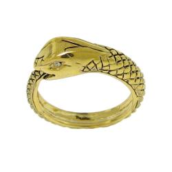 14k Goldplated Clear Cubic Zirconia Snake Ring