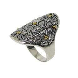 Two-tone Silver Beaded Flower Ring - Thumbnail 1