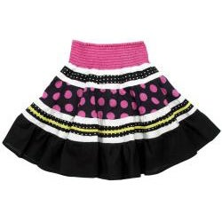 Beetlejuice London Girl's Polka-dot and Stripe Two-piece Skirt Set