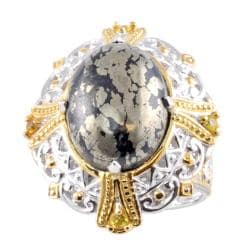 Michael Valitutti Two-tone Pyrite and Yellow Sapphire Ring