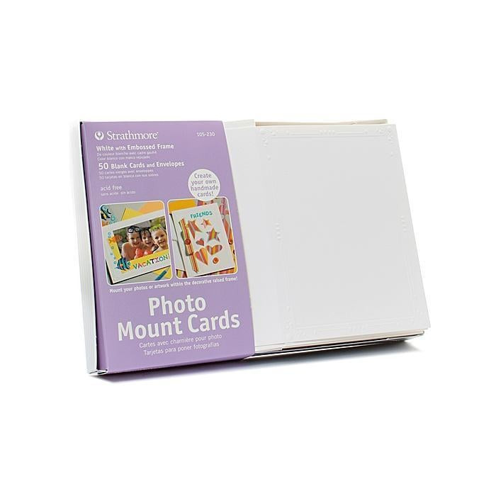 STRATHMORE Photo Mount Greeting Cards (Pack of 50), White