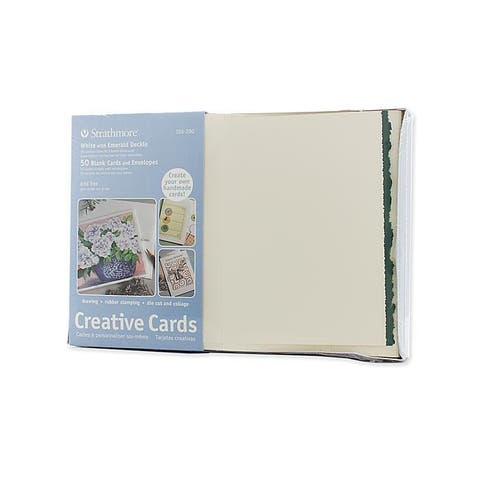 Strathmore White With Green Deckle Greeting Cards Pack Of 50