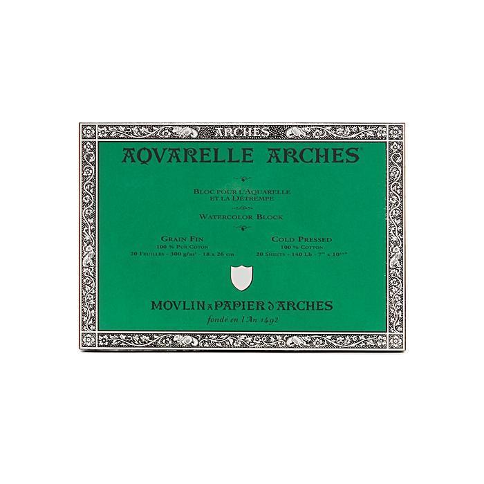 Arches 7-inch x 10-inch Cold Press Watercolor Block, Gree...