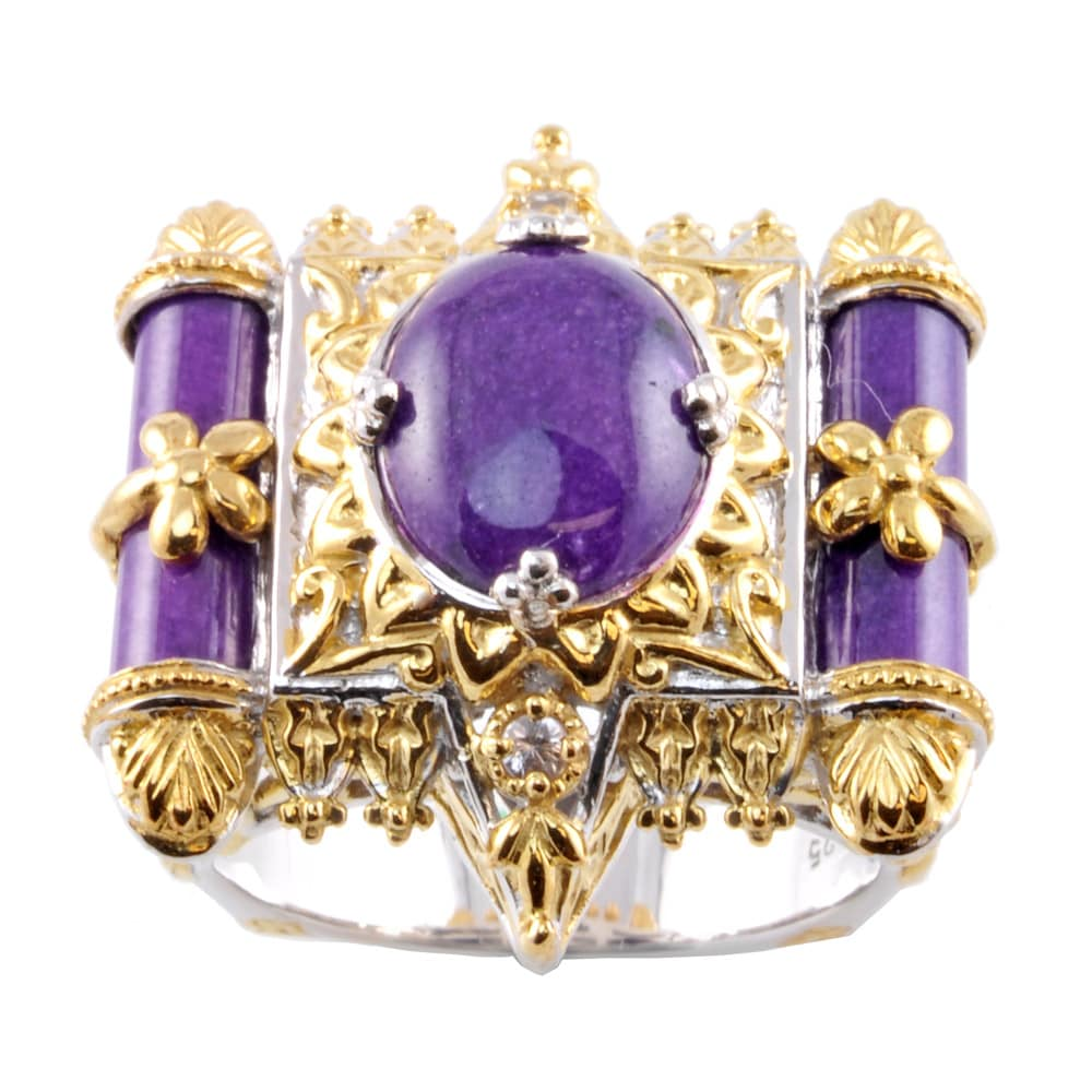 b2ff097462d5f Michael Valitutti Two-tone Purple Jade and White Sapphire Ring -  Chocolate/Beige