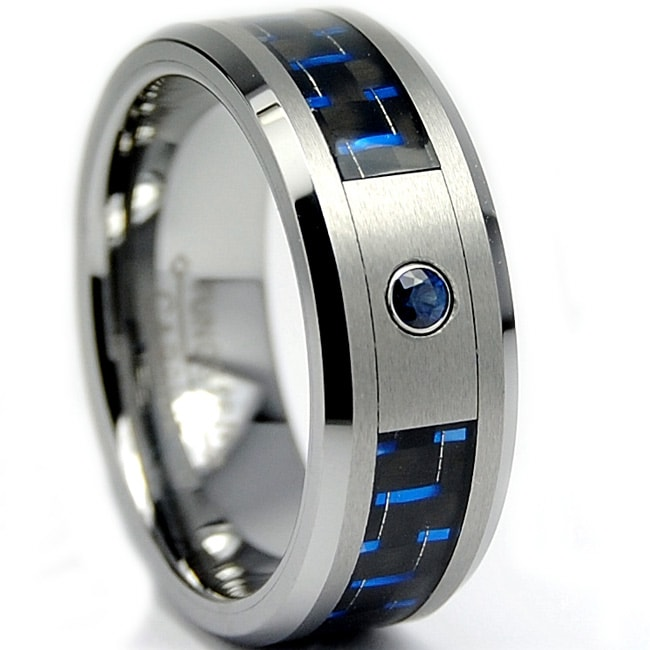 Men's Tungsten Carbide Sapphire Black and Blue Carbon Fiber Band (8 mm)