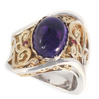 Michael Valitutti Two Tone Amethyst And Pink Tourmaline Ring