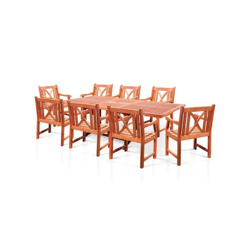Surfside Rectangular Wood Armchair Outdoor Dining Set by Havenside Home