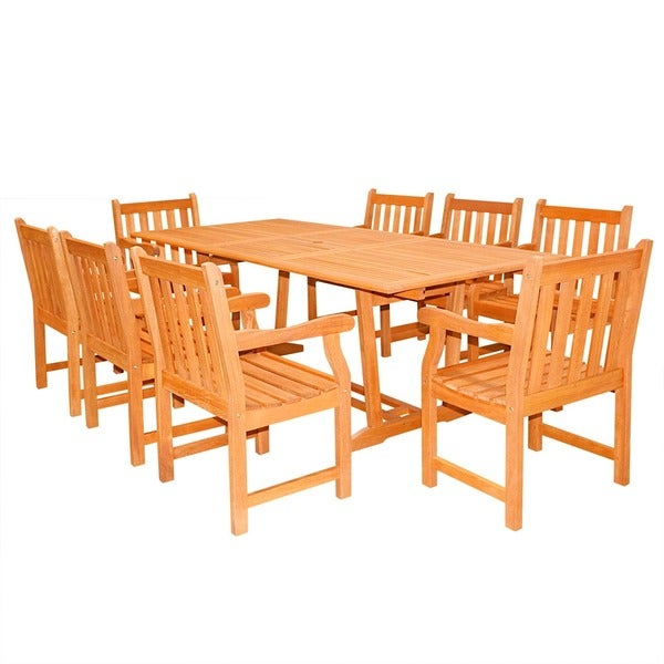 Havenside Home Surfside 9-piece Rectangular Wood Armchair Outdoor Dining Set