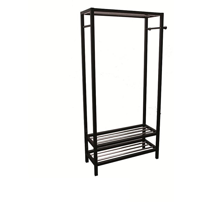 Black Hanger and Shoe Rack Stand