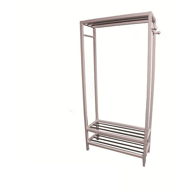 White Hanger and Shoe Rack Stand