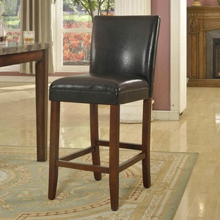 HomePop 29-inch Luxury Black Faux Leather Barstool