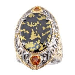 Michael Valitutti Two-tone Goldenite with Citrine and Yellow Sapphire Ring