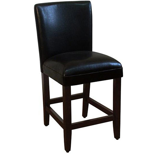 HomePop 24-inch Luxury Black Faux Leather Barstool