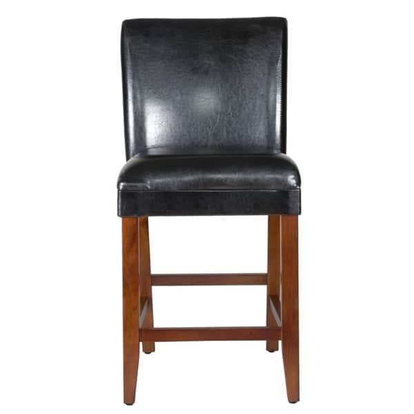 Groovy Shop Homepop 24 Inch Luxury Black Faux Leather Barstool On Evergreenethics Interior Chair Design Evergreenethicsorg