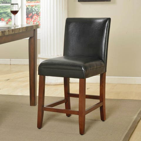 HomePop 24-inch Luxury Black Faux Leather Barstool - 24 inches