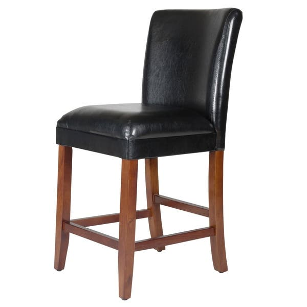 Miraculous Shop Homepop 24 Inch Luxury Black Faux Leather Barstool On Evergreenethics Interior Chair Design Evergreenethicsorg