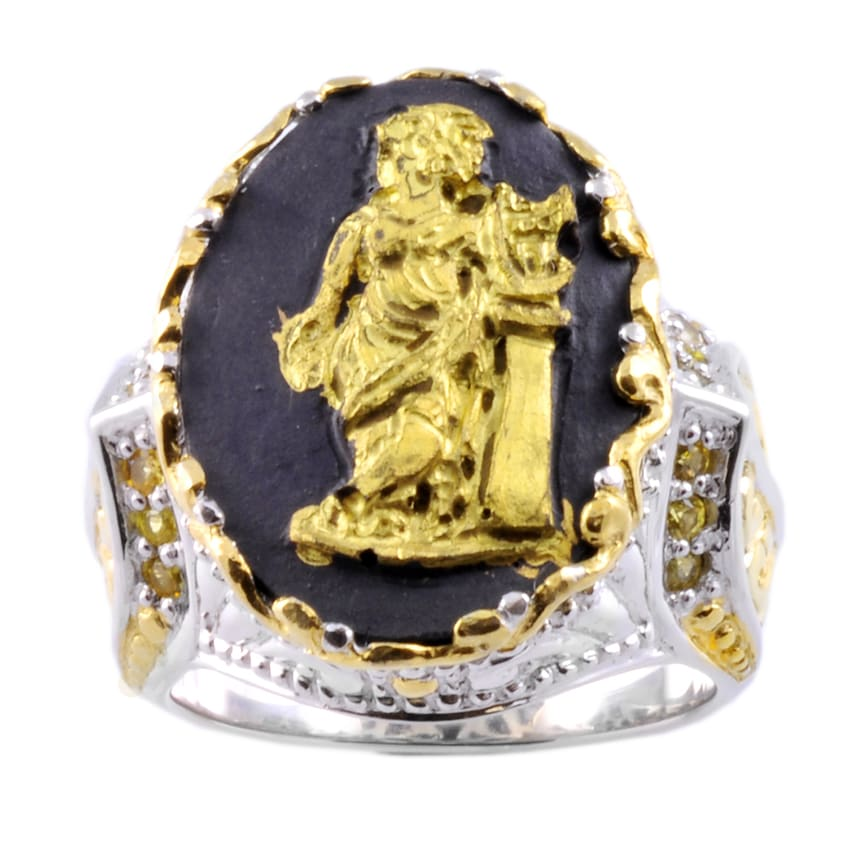 Michael Valitutti Two-tone Porcelain and Yellow Sapphire Ring