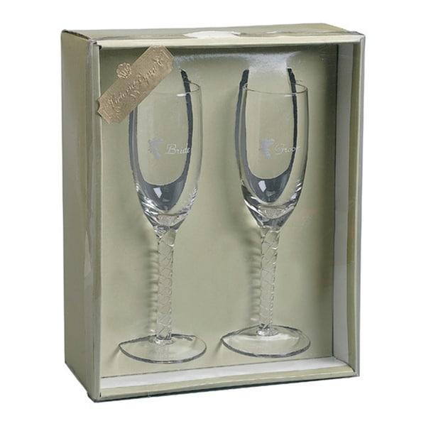 Darice Bride & Groom Champagne Glasses