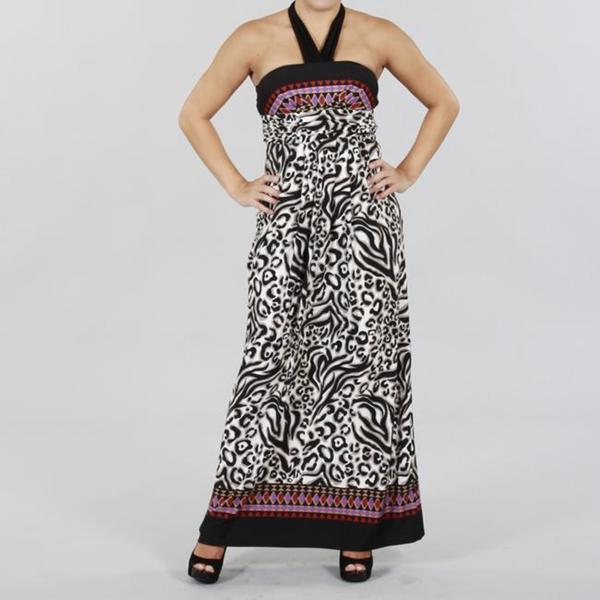 JFW Women's Printed Halter Maxi Dress