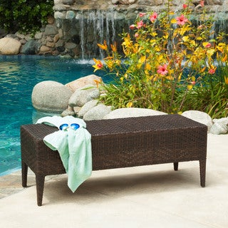 Wicker Outdoor Bench by Christopher Knight Home