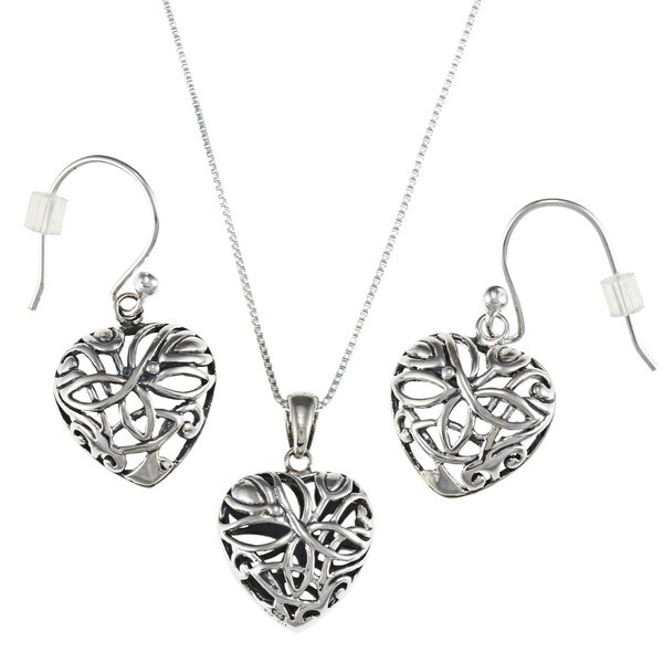 Sunstone Sterling Silver Heart Earrings and Necklace Set