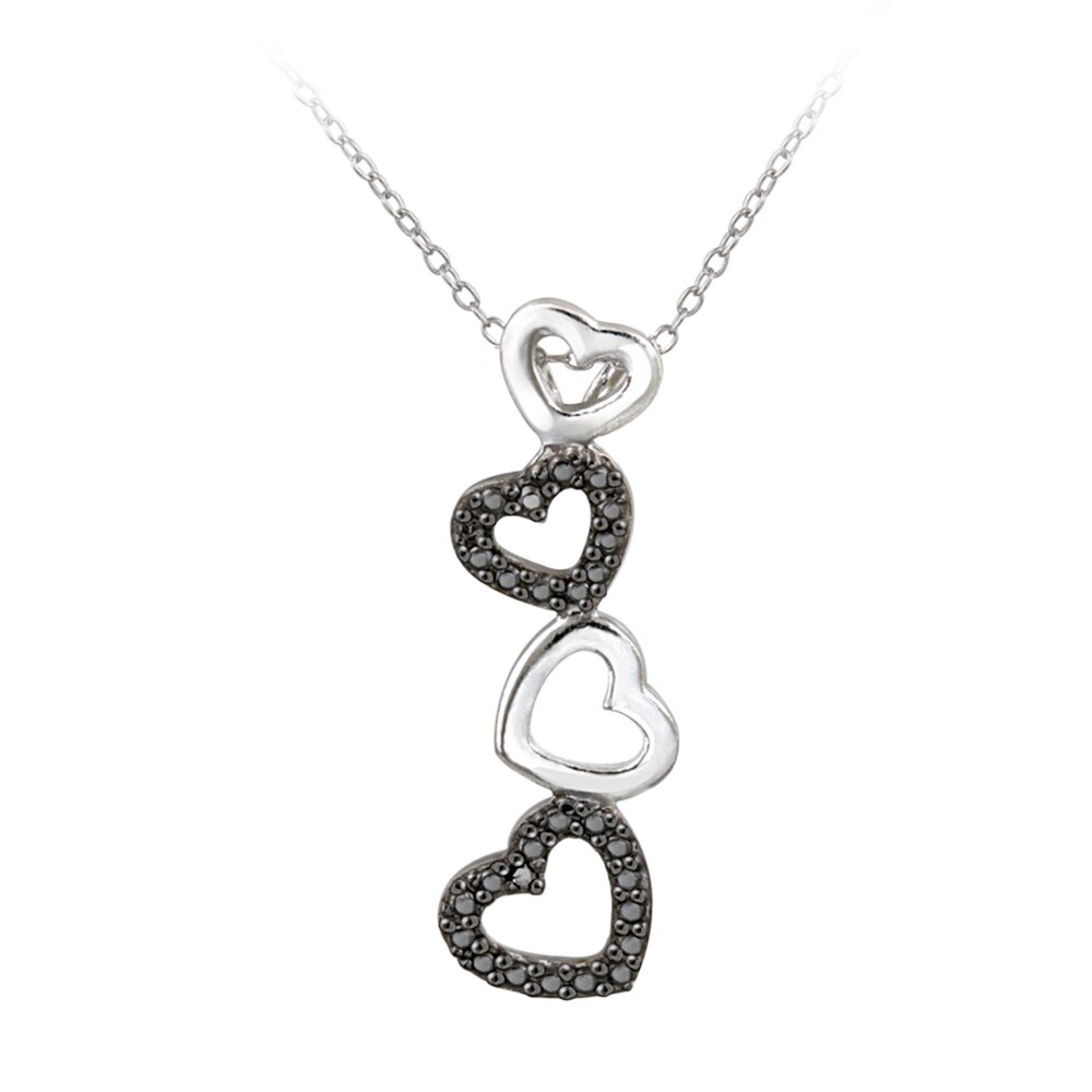DB Designs Sterling Silver Black Diamond Accent Dangling Heart Necklace
