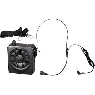 Pyle PWMA50B Portable PA Speaker Voice Amplifier - Built-in Rechargeable Battery w/Headset Microphone Hands-free Waist-Band