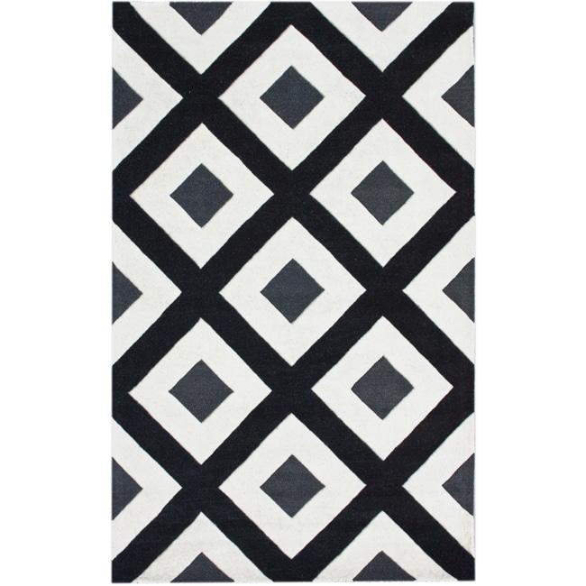nuLOOM Handmade Black Diamond New Zealand Wool Rug (7'6 x 9'6)