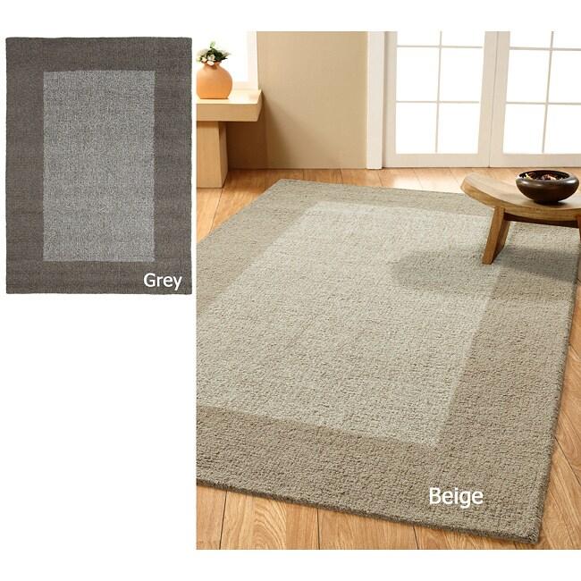 nuLOOM Handmade Moda Solid Border Wool Rug (7'6 x 9'6)