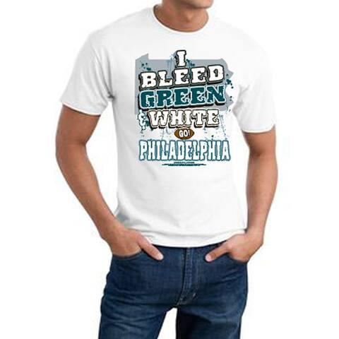 Philadelphia Football 'I Bleed Green & White' White Printed Cotton Tee