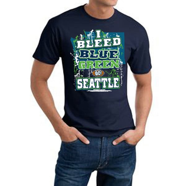 Seattle I Bleed Blue & Green Navy Tee
