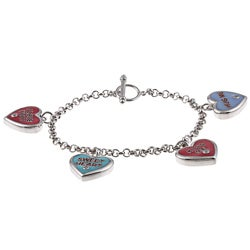 La Preciosa Silvertone Multi-colored Enamel and Cubic Zirconia Bracelet