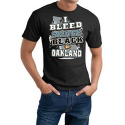 Oakland 'I Bleed Silver & Black' Machine-Washable Cotton Tee