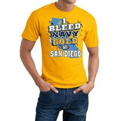 San Diego 'I Bleed Navy & Gold' Gold Cotton Tee