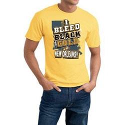 Thumbnail 1, New Orleans Football 'I Bleed Black & Gold' Gold Tee.