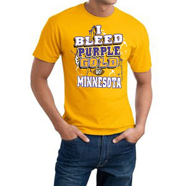 Minnesota Football 'I Bleed Purple & Gold' Yellow Cotton Tee