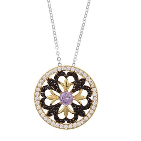 La Preciosa Tri-color Sterling Silver Cubic Zirconia Circle Necklace