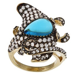 La Preciosa Sterling Silver Blue and White Cubic Zirconia Stingray Ring