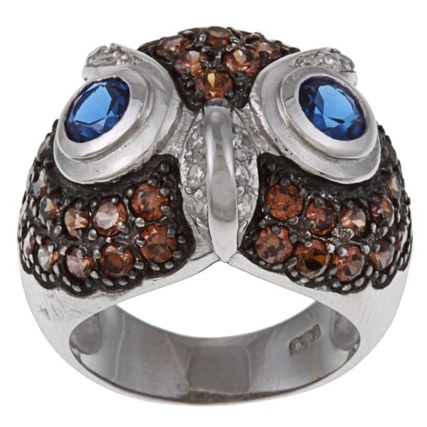 Cubic Zirconia Owl Ring In Sterling Silver