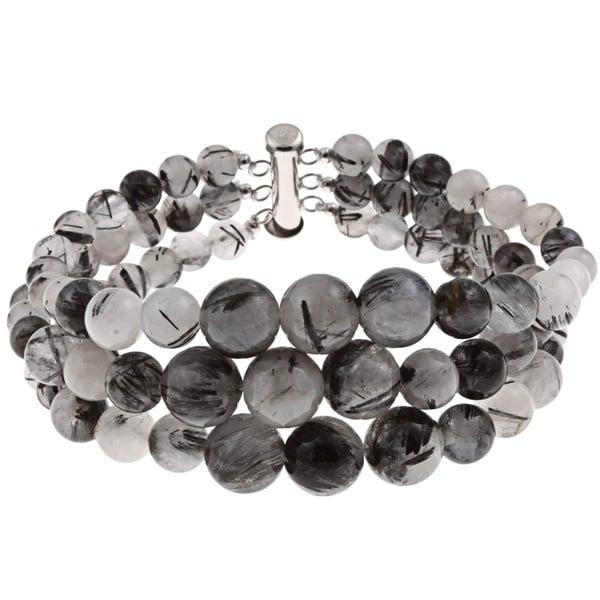 Pearlz Ocean Sterling Silver Black Rutilated Quartz Graduated Bracelet