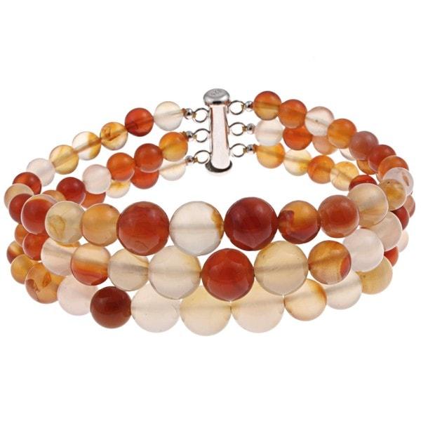 Pearlz Ocean Sterling Silver Carnelian Journey Bracelet