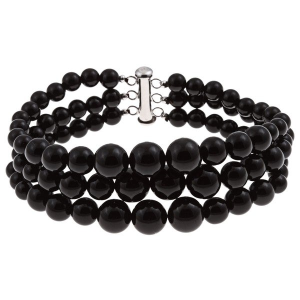 Pearlz Ocean Sterling Silver Black Onyx Graduated Bracelet
