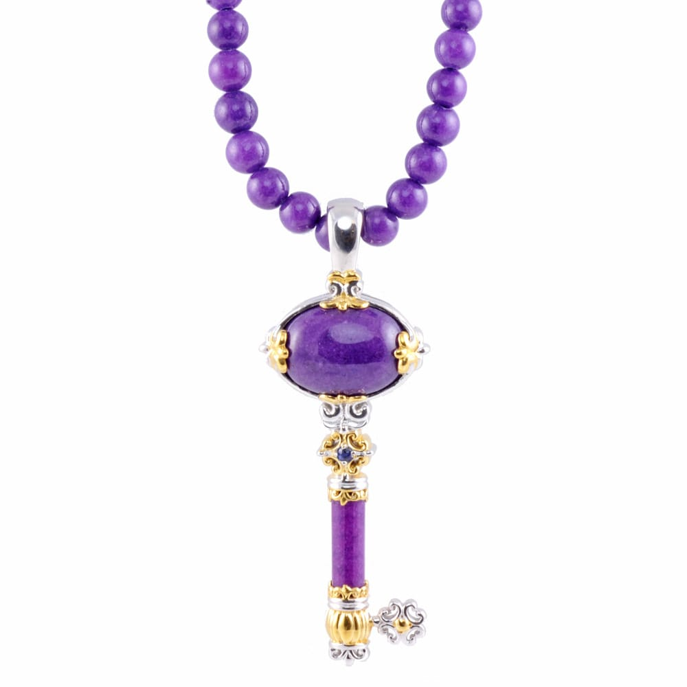 Michael Valitutti Two-tone Purple Jade Key Necklace