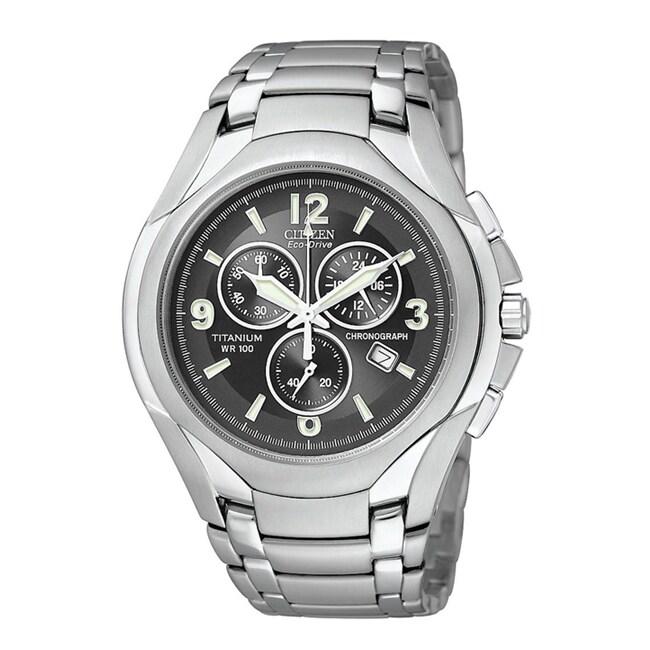Citizen Men's Eco-Drive Titanium Chronograph Black Dial Watch