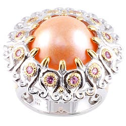 Michael Valitutti Two-tone Peach Mabe Pearl and Pink Sapphire Ring (14-15 mm)|https://ak1.ostkcdn.com/images/products/6172726/Michael-Valitutti-Two-tone-Peach-Mabe-Pearl-and-Pink-Sapphire-Ring-14-15-mm-P13827162.jpg?impolicy=medium