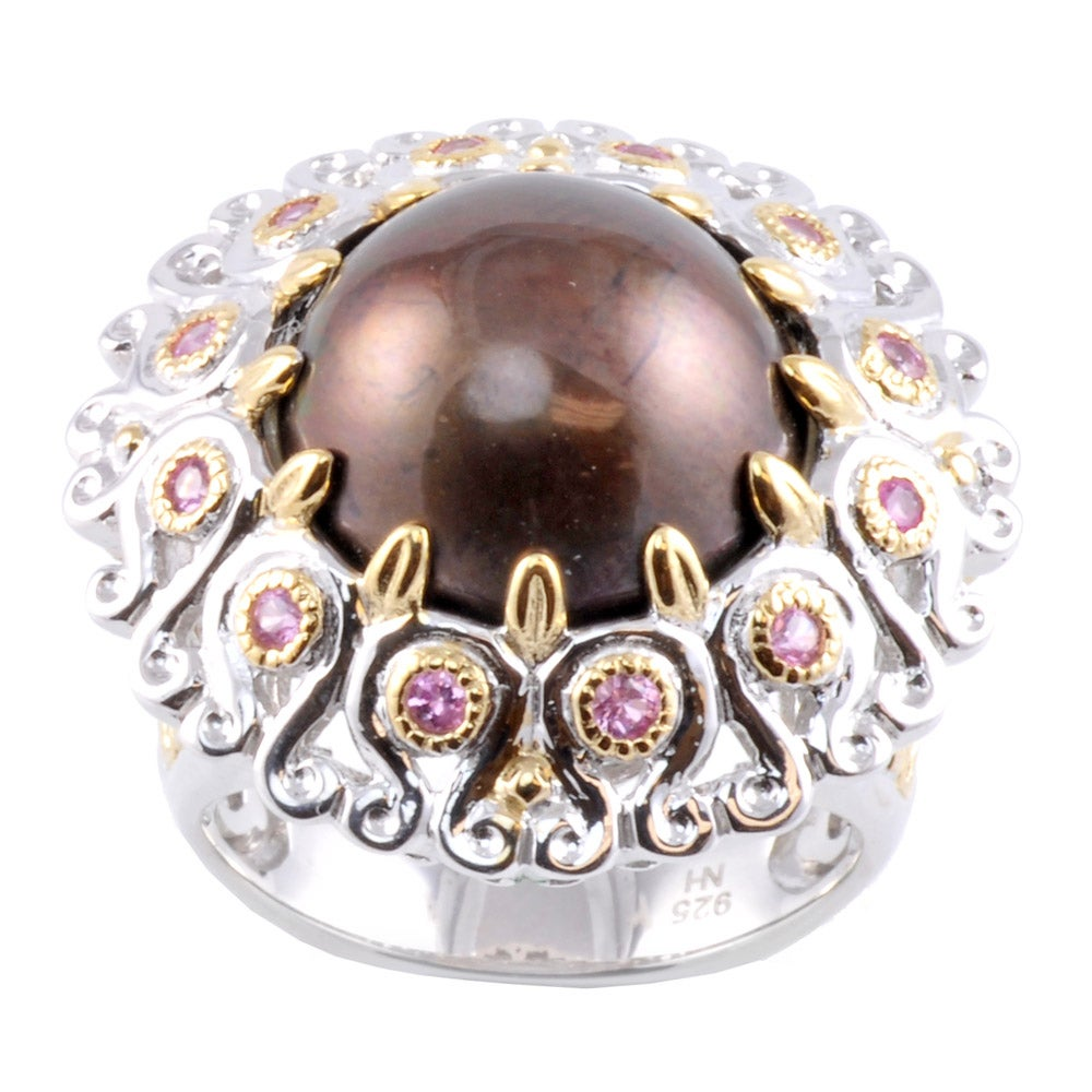 Michael Valitutti Two-tone Brown Mabe Pearl and Sapphire Ring (14-15 mm)