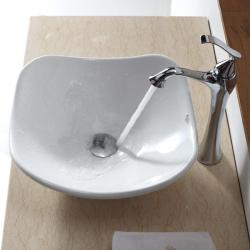 KRAUS Tulip Ceramic Vessel Sink in White with Ventus Faucet in Chrome - Thumbnail 1