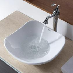 KRAUS Tulip Ceramic Vessel Sink in White with Ventus Faucet in Chrome - Thumbnail 2
