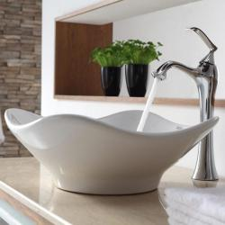 KRAUS Tulip Ceramic Vessel Sink in White with Ventus Faucet in Chrome
