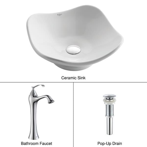 Kraus 3-in-1 Bathroom Set White Ceramic Modern Art Vessel Sink, Ventus Single Hole Faucet and Pop Up Drain in Chrome